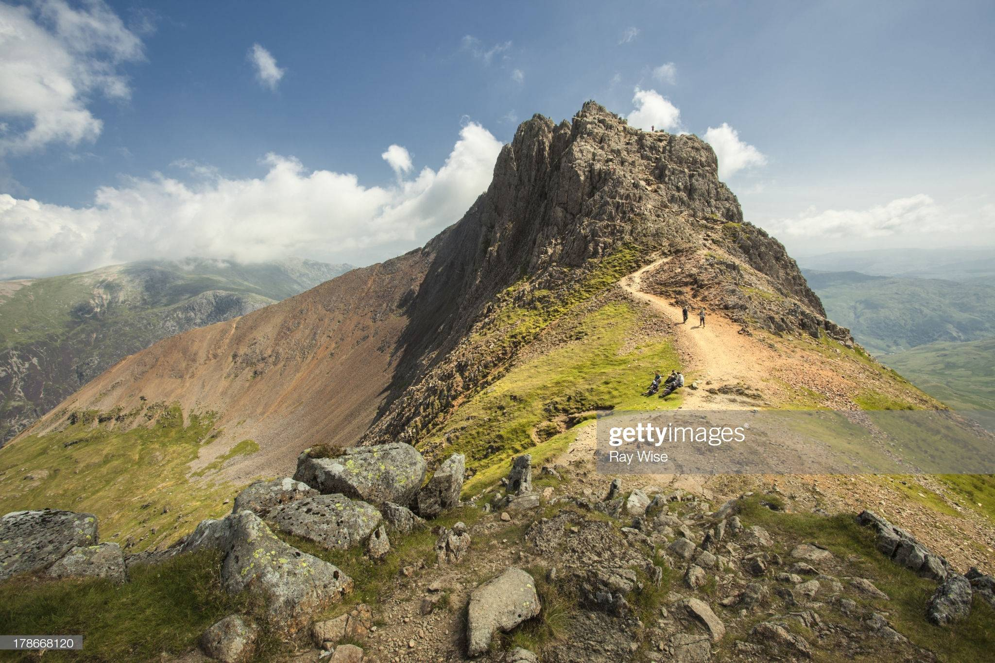 One of the most famous walks in the UK - a shot of the famous Crib Goch in Wales - in its splendid summer colours.